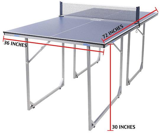 Joola Midsize Table Tennis Dimensions