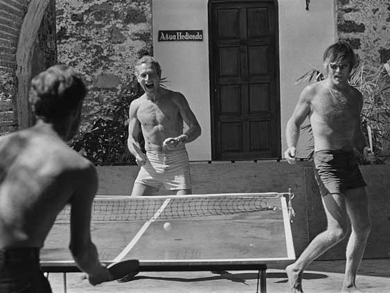 Paul Newman Robert Redford Playing Ping Pong Outdoors